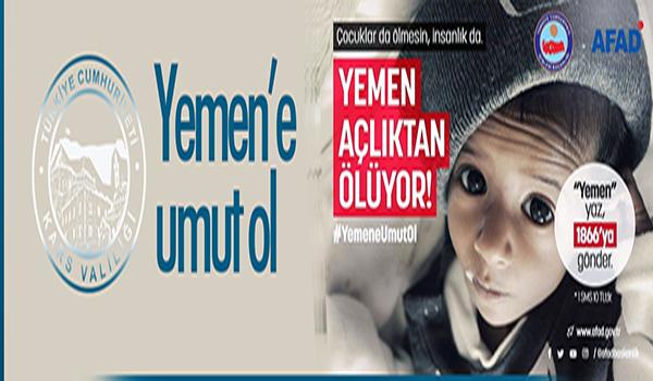 """Kars Valiliğinden """"Yemen'e umut ol"""" çağrısı"""
