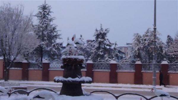 Iğdır şehir merkezine yılın ilk karı yağdı