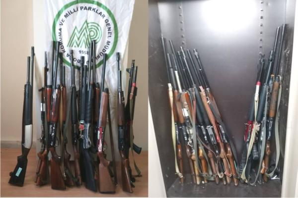 Kars'ta yasa dışı avlanan kişilerden çok sayıda tüfek ele geçirildi
