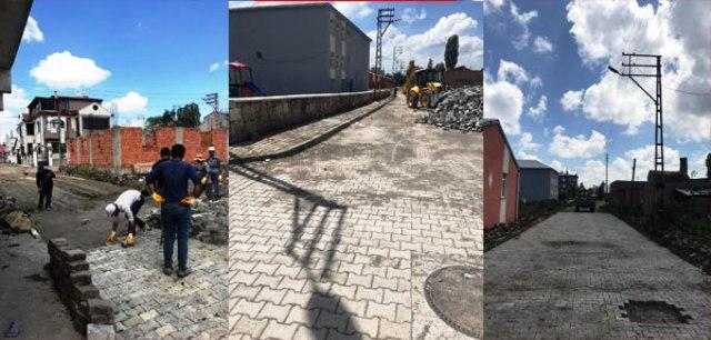 Kars Belediyesi Fen İşleri Müdürlüğü yol ve kaldırım çalışmalarına Bahçelievler Mahallesinde başladı.