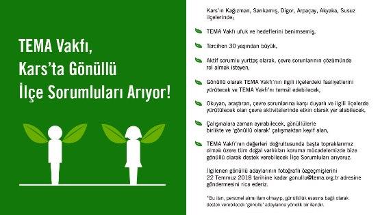 TEMA Vakfı Kars'ta gönüllü ilçe sorumluları arıyor!