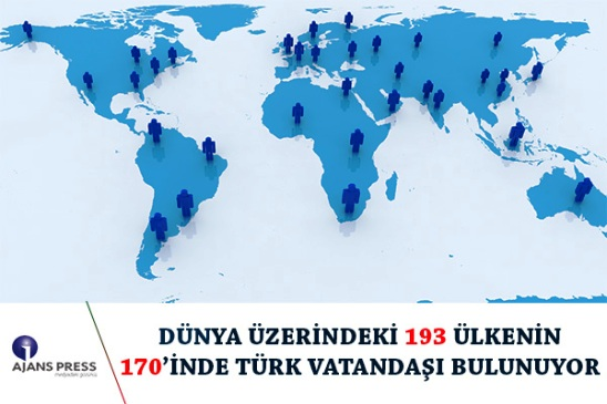 DÜNYA ÜZERİNDEKİ 193 ÜLKENİN 170'İNDE TÜRK VATANDAŞI BULUNUYOR