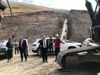 DSİ Kars 24. Bölgenin yaptığı Ünlendi barajı inşaatı incelendi