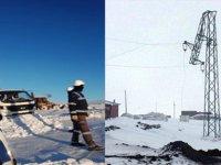 Yıkılan elektrik direkleri onarıldı