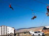 Sarıkamış Kayak Merkezi'nde teleferikte kurtarma tatbikatı