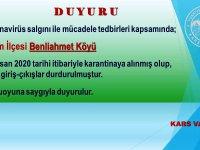 Benliahmet Köyü Karantinaya alındı
